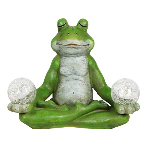 (Exhart Solar Yoga Frog Holding 2 Glass Balls Garden Statue - Hand-Painted Resin Statue of a Green Frog in Cross-Legged Meditation Pose w/Solar LED Lights Glass Orbs, 11