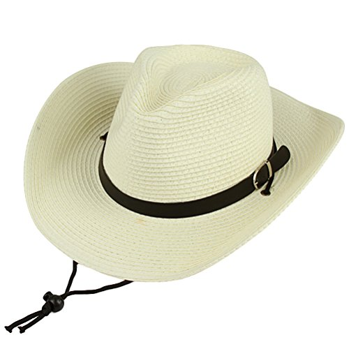 MatchLife Western Pinch Front Classic Cowboy Straw Hat One Size White Pinch Front Straw