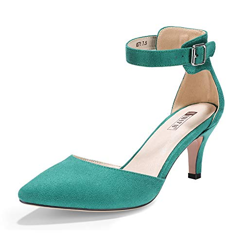 Womens Green Mid Heel - IDIFU Women's IN3 D'Orsay Pointed Toe Ankle Strap Mid Heel Low Kitten Dress Pump Shoes (9.5 M US, Green Suede)