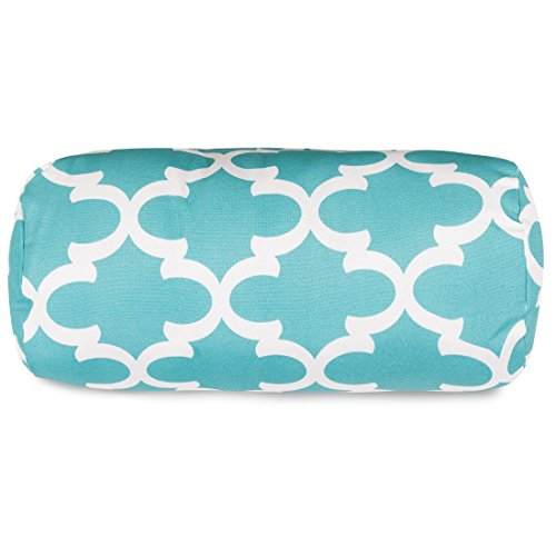 (Majestic Home Goods Trellis Round Bolster Pillow, Teal)