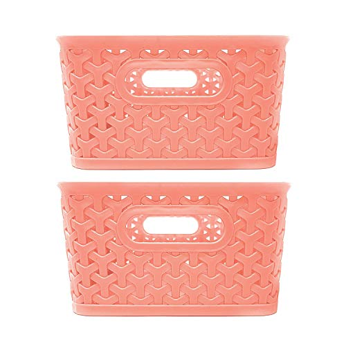 Clever Home Basket Weave Plastic Storage Bin Set of 2 (10 x 8 x 4, Coral)