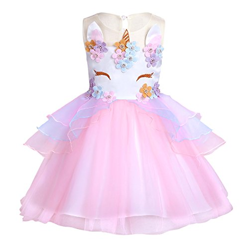 iEFiEL Girls Sleeveless Splice Flower Fancy Costumes Princess Birthday Easter Party Cosplay Tutu Dress Pink 12-24 Months by iEFiEL