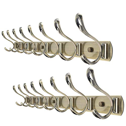 Scrolled Coat Rack - WEBI Coat Rack Wall Mounted,30 Inch 8 Coat Hooks for Hanging Coats,Metal Wall Coat Rack with Hooks Double Hook Rack Hook Rail Coat Hanger Wall Mount for Entryway Hat Jacket,Bronze,2 Packs