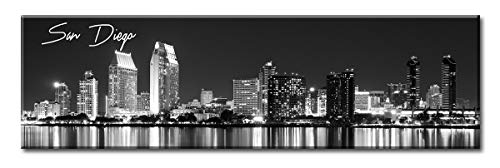 DJSYLIFE- San Diego Skyline Wall Art,Black and White Stretched Canvas Art Prints, Wall Decoration Painting for Bedroom or Office, Ready to Hang 13.8
