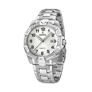 Festina F16285/B - Reloj analógico de cuarzo para hombre con correa de acero inoxidable, color plateado