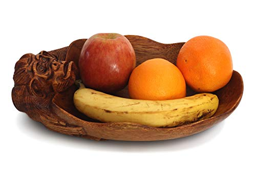 G6 COLLECTION Wooden Handmade Monkey Fruit Decorative Bowl Centerpiece Hand Carved Art Home Decor Decoration Artwork Handcrafted Gift Storage Accent Rustic Wood Serving Bowls Monkey