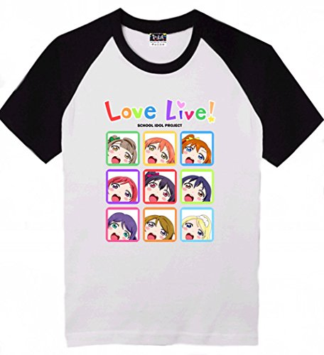 Love Live Kawaii Printing Short sleeves T-shirt Tee (XL (US L), Black/ White)