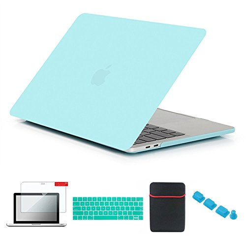 Soft Decal Set - Se7enline Macbook Case for MacBook Pro 13 inch A1706/A1708/A1989 2016-2018 with/without Touch Bar Soft-Touch Plastic Hard Cover with Sleeve, Keyboard Cover, Screen Protector, Dust plug, Turquoise Blue