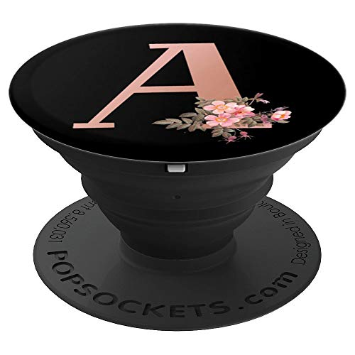 Bean Rose - Matte Rose Gold Letter A Floral Monogram - PopSockets Grip and Stand for Phones and Tablets