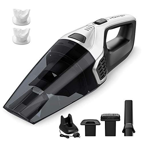 Homasy Upgraded Handheld Vacuum Cleaner Cordless, Powerful Lightweight Cyclonic Suction Cleaner, Rechargeable Quick Charge, Wet Dry Vacuum Cleaner for Pet Hair, Home and Car Cleaning(Silver)
