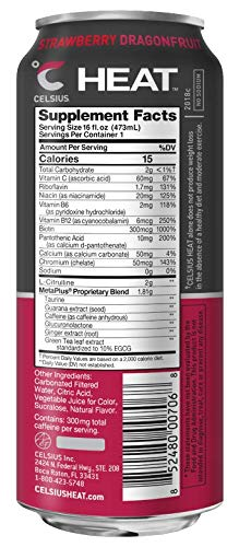 CELSIUS HEAT Strawberry Dragonfruit Performance Energy Drink, ZERO Sugar, 16oz. Can, 12 Pack by CELSIUS (Image #1)