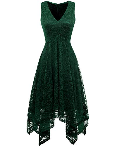 Spitzenkleid bridesmay Elegant Dark unregelmäßig Green Damen Cocktail Brautjungfernkleider waanrYWIq5