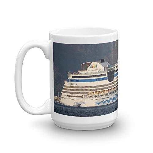 Aida Stella Cruise Ship Leaving Marmaris. 15 Oz Ceramic Coffee Mugs With C-shape Handle, Comfortable To Hold. 15 Oz Fine Ceramic Mug With Flawless Glaze Finish