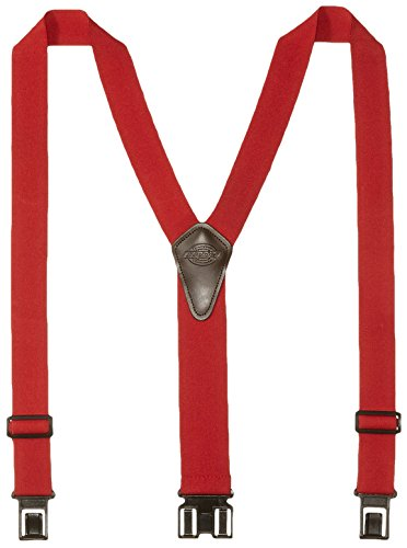 (Dickies Heavy Duty Clip Suspenders - Men's Adjustable Y Back Straps with Clips for Work Pants,Red,One)