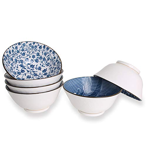 YALONG 20-Ounce, Deep Bowls for Cereal, Soup, Salad Rice 6 inch Assorted Blue and White Patterns Set of 6 ceramic deep white simple serving soup rice salad noodle pasta pho ()