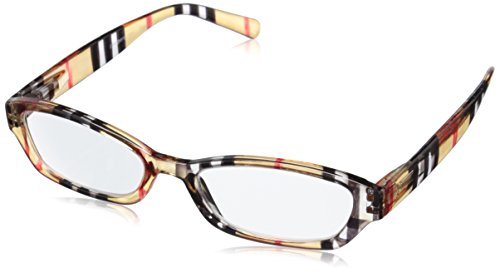 Peepers Chesterfeld Stripe Square Reading Glasses,Gold,+2 Stripe Reading Glasses
