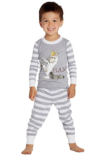 Where The Wild Things Are Boys' Toddler Max' Cotton Pajama Set, Gray, 5T]()