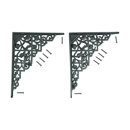 - Renovator's Supply Black Decorative Wall Mounting Shelf Brackets Sturdy Aluminum 7 Inch X 8 3/4 Inch Floral Vintage Design Sold As Pair