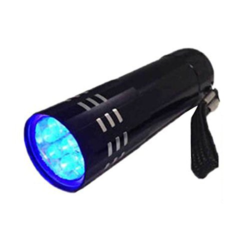 Trendyest - Mini linterna LED de aluminio, ultravioleta, 9 LED, color negro