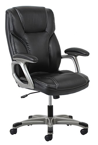 Essentials High-Back Leather Executive Office/Computer Chair with Arms - Ergonomic Swivel Chair (ESS-6030-BLK) by Essentials by OFM