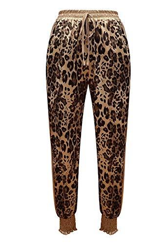 MAXIMGR Womens Pajama Bottoms Comfy Palazzo Lounge Pants Leopard Print Loose Pants with Elastic Drawstring Yellow