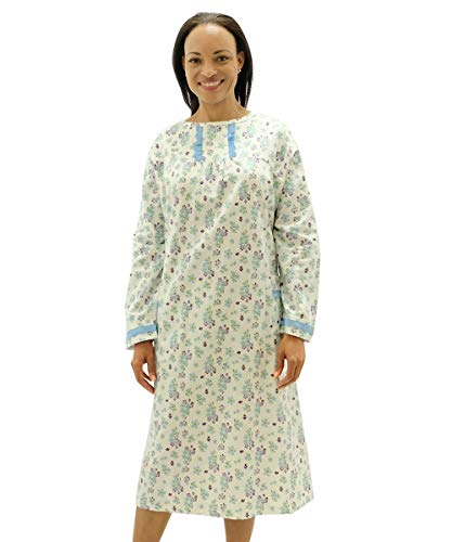 Long Sleeve Flannel Open Back Night Gowns for Women- Back - Delicate Flower XL