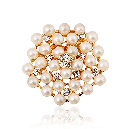 Reizteko Fashion Jewelry Imitation Pearls Floral Ivory and Silver-Tone Crystal Brooch Pin (Gold)