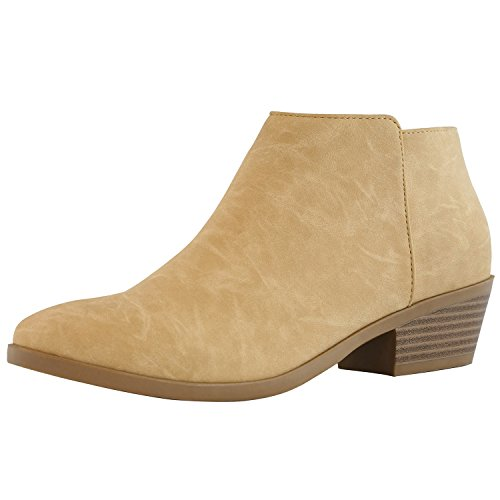 (DailyShoes Women's Western Cowboy Bootie - Ultra Comfortable and Soft Lining Slip on Low Heel Cow Closed Pointed Toe Boot - Chunky Heel Stylish Ankle Boots for Any Occasion, Beige PU, 7.5 B(M) US)