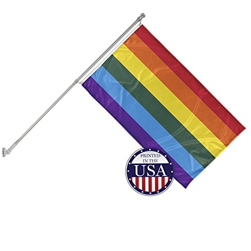 (Vispronet 3ft x 5ft Rainbow Flag with 6ft Wall Mounted Flagpole - Flame-Retardant, Knitted Polyester - Single-Sided Print with 100% Visibility on Both Sides - Printed in The USA)