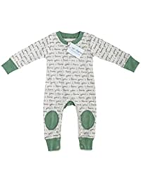 Certified Organic Infant/Baby Clothes ILY/Sage Playsuit (0-3 Months)