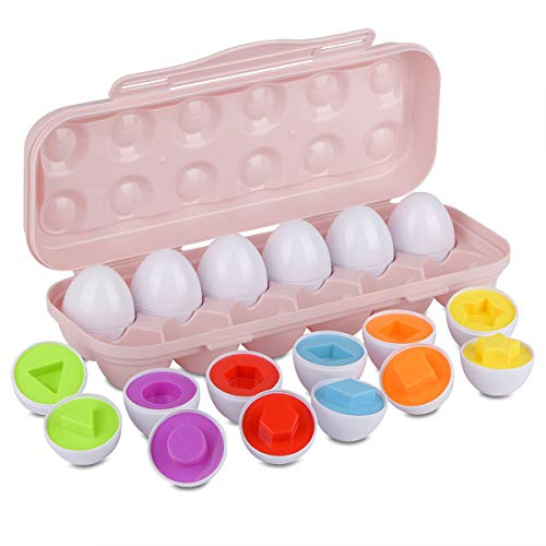 Hhyn Color Shape Matching Eggs for Toddlers, Preschool Learning Educational Sorting Easter Eggs Toys Gift Recognition Skills for Kids Boys Girls with Pink Eggs Holder, 12 Eggs