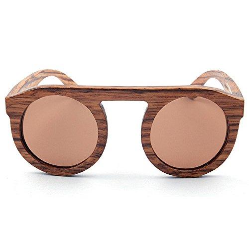 Godbb Pesca de Air Color Gafas Redondo a marrón conducción Personalidad Playa de protección de polarizado Hecho Gafas TAC Sol Mano al de Moda UV Vacaciones Tonos Sol Lindo Lente Mujer Madera rwxqSvIAr