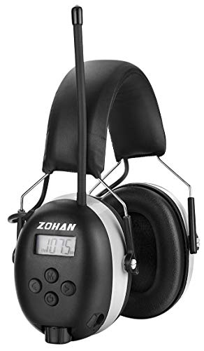 Digital AM/FM Radio Earmuff, ZOHAN TYPE-A Ear Protection With Stereo Radio, Perfect for Mowing (Gray)