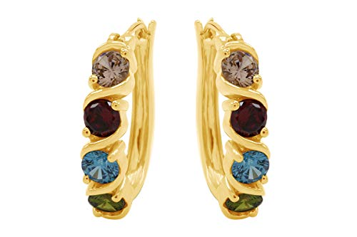 Simulated Multicolor Gemstone Hoop Earrings In 14k Yellow Gold Over Sterling Silver ()
