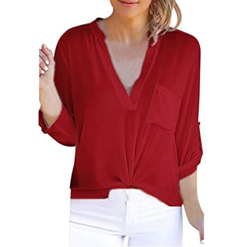 V-Neck Solid Blouses Tops, Clearance Duseedik Women Long Sleeve Chiffon Pocket T-Shirts Casual Loose Tops Tunic