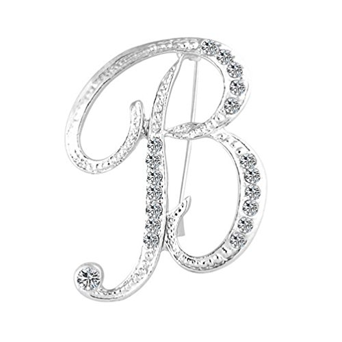 HEART SPEAKER 1 Pc Fashion Unisex Rhinestone English Letters Alphabet A-Z Brooch Pin Ornament size B (Silver)