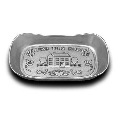 - Wilton Armetale Bless This House Large Bread Tray - Matte Finish