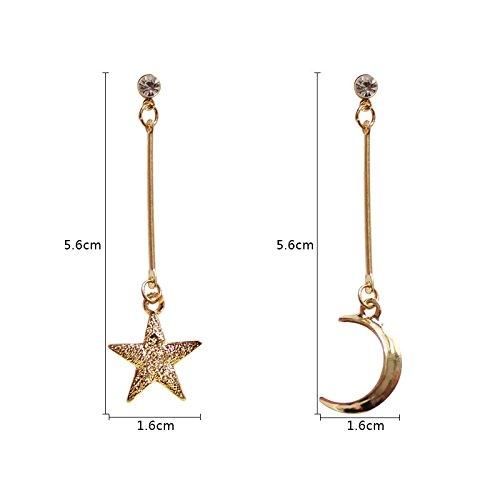 Dwcly CZ Asymmetric Frosted Moon and Star Women Long Tassel Dangle Earrings Gift for Women Girls