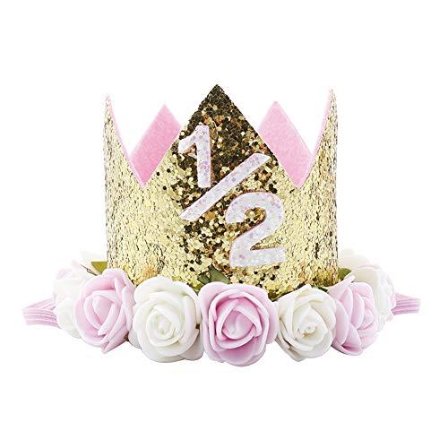 Baby Boy Girl Princess Tiara Crown Number Headwear Headband Kids Glitter 1/2 1st 2 3 First Birthday Cake Smash Hat Sparkle Gold Rose Flower Party Hairwear Hair Accessories Photography Props # Pink 1/2]()