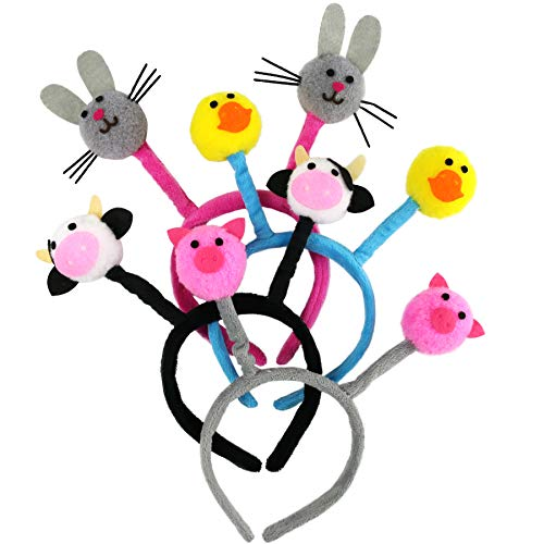 Bstaofy Assorted 4pc Headband Hair Hoop Furry Farm Animal Accessories for Easter Costume Valentine's Party for Girlfriends Kids