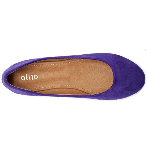 Ollio Frauen Schuh Ballett Licht Faux Wildleder Low Heels Flat Lila