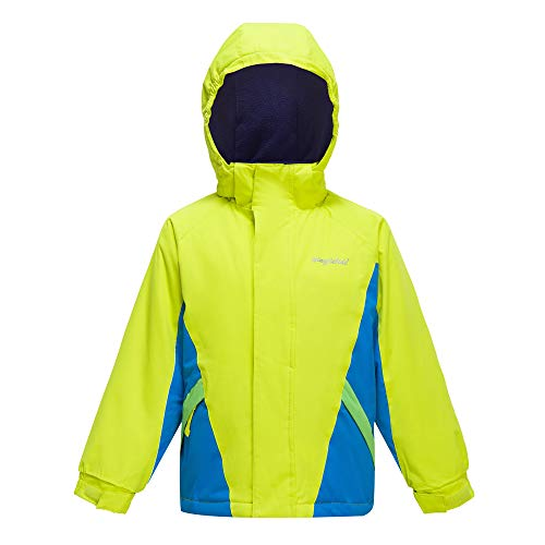 - YINGJIELIDE Boy's Waterproof Ski Jacket Kids Outdoor Windproof Fleece Lined Hooded Winter Coat Fluorescent Green 11-12 Years