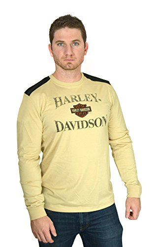 Tan Brown Tee Shirt (Barnett Harley-Davidson Harley-Davidson Mens Tumultuous Terrain B&S Tan Long Sleeve T-Shirt (3X))