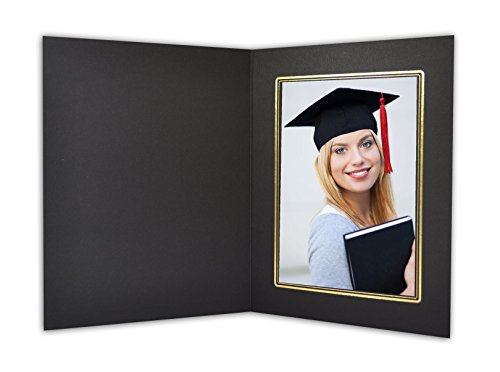 Golden State Art, Cardboard Photo Folder For a 5x7 Photo (Pack of 50) GS001 Black Color with Gold Lining