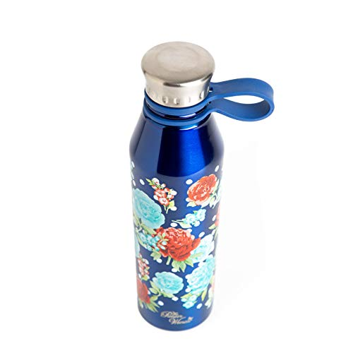 The Pioneer Woman 18oz Double Wall Vacuum Insulated Stainless Steel Water Bottle - Navy Blue w/Flowers