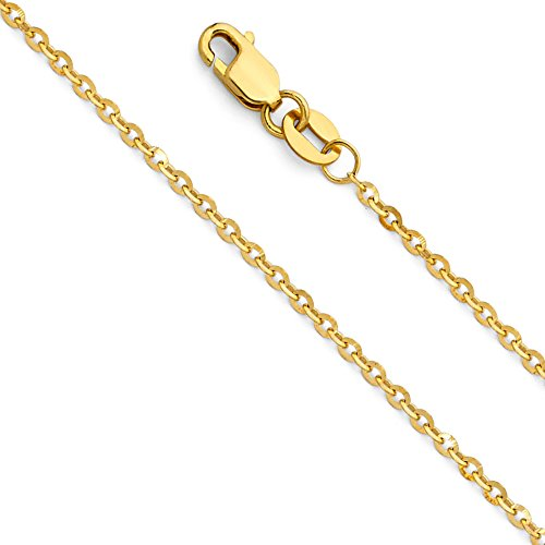 - The World Jewelry Center 14k Yellow Gold Solid 1.5mm Side Diamond Cut Rolo Cable Chain Necklace with Lobster Claw Clasp - 22