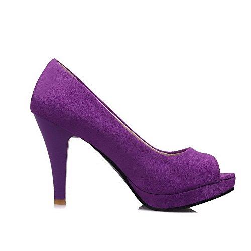 Allhqfashion Womens Peep Toe Pull On Imitato Sandali Tacco Alto Sandali Con Tacco Alto Viola