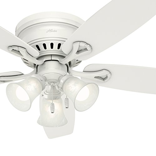 Hunter Fan 52 inch Traditional Ceiling Fan in White with Swirled Marble Glass Light Kit (Renewed) ()