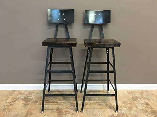 Urban Reclaimed Bar Stool, Counter Stool, Handmade, Reclaimed Wood, Industrial Inspired Seating, Set of 2, Chairs, Barn Wood Stool,Industrial Modern Barstool Free Shipping
