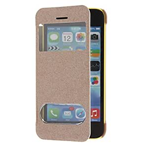 DD Solid Color Silk Grain Smart Full Body Case with Automatic Wake-up and Sleep for iPhone 5C (Assorted Colors) , Rose